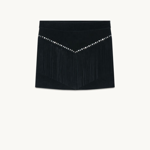 Suede skirt with fringes - null - MAJE