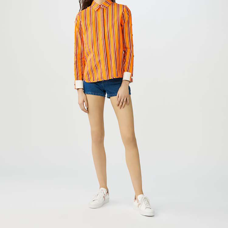 Striped cotton shirt with snaps : Shirts color Orange