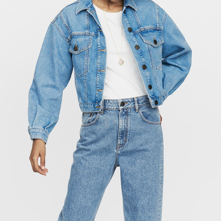 Cropped denim jacket : Jackets color Denim