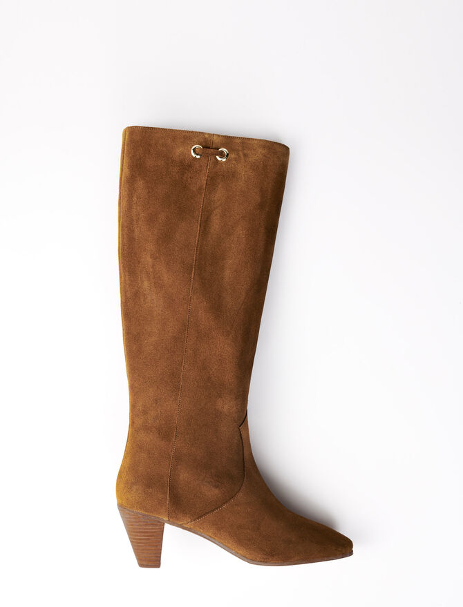 Camel suede boots -  - MAJE