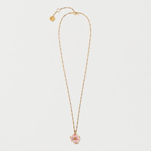 Necklace with pink flower : New in color GOLD