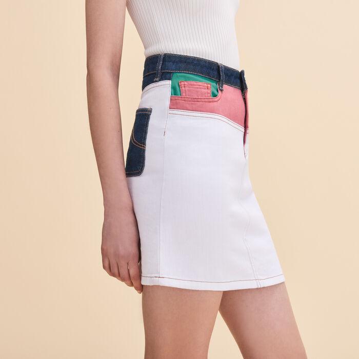 Short multicoloured denim skirt -  - MAJE