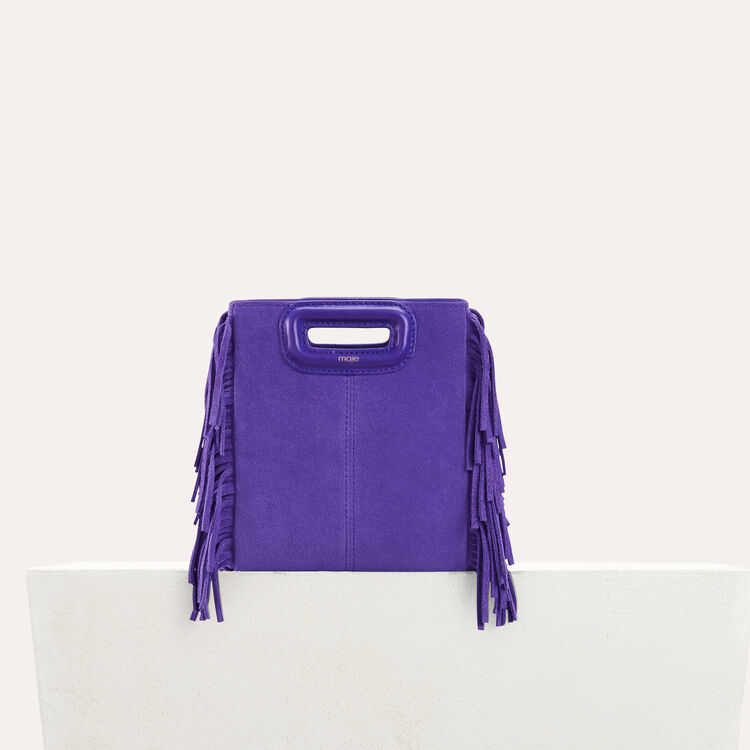 Mini M bag in suede with chain : Leather color Purple