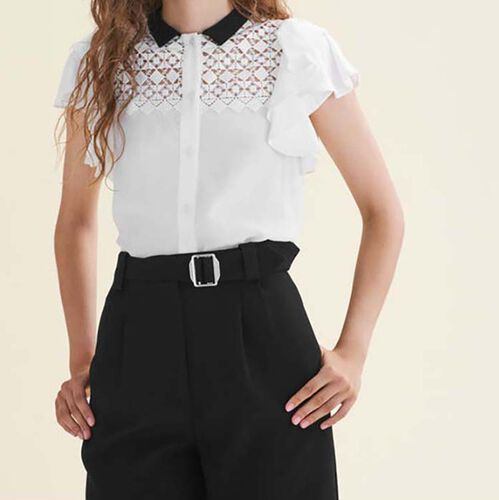 Two-tone frilled blouse with embroidery - Shirts - MAJE