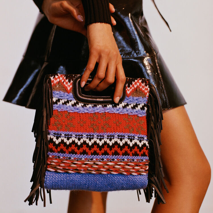 Mini M bag in knit and leather : M bag color Blue