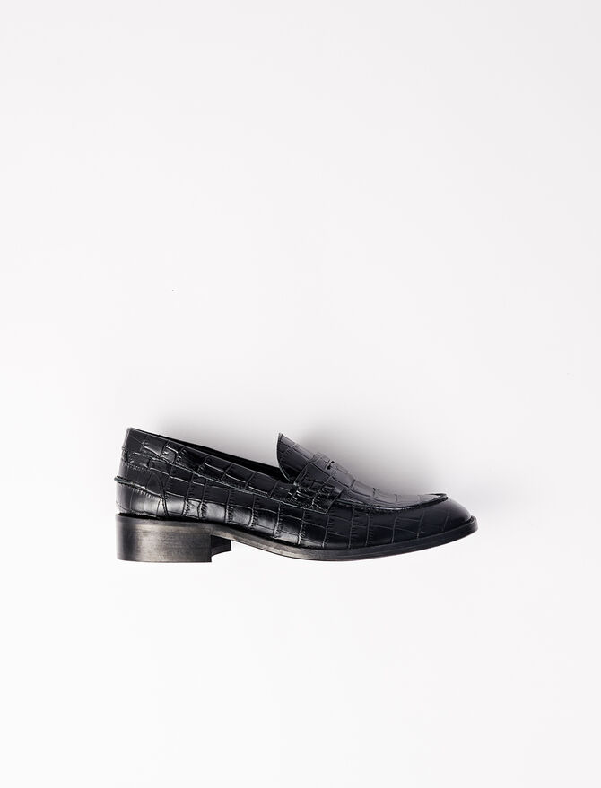 Crocodile-effect calfskin loafers - Slipper - MAJE
