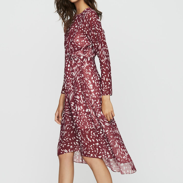 Print asymmetric dress with draping : Ready to wear color PRINTED