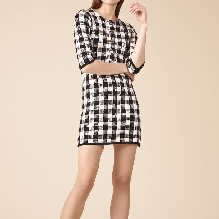 Short knit dress : Dresses color BLACK