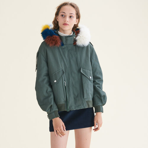 Jacket with multicoloured fur - Coats - MAJE