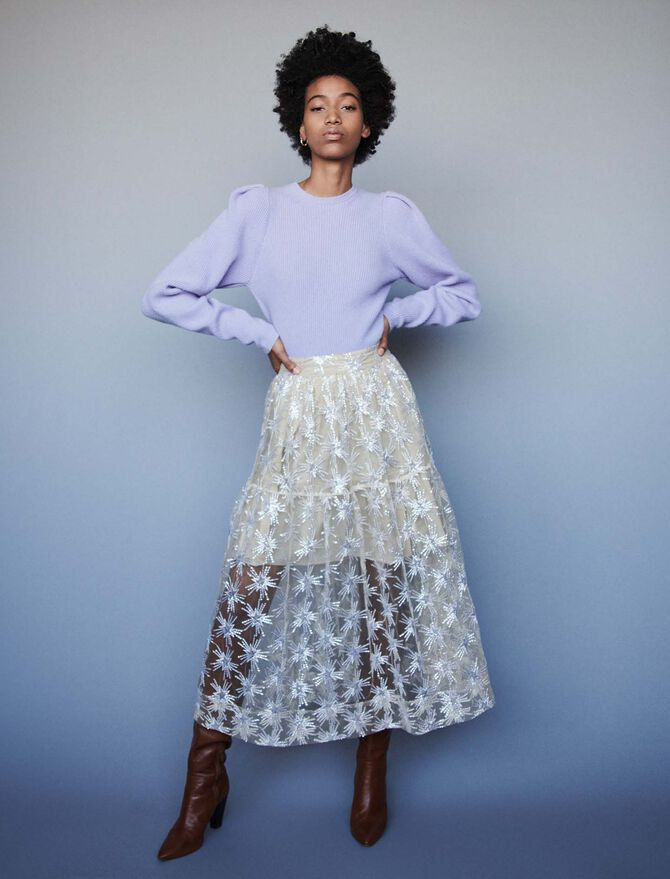 Sequin-embroidered tulle skirt - SoldesBE_50 - MAJE
