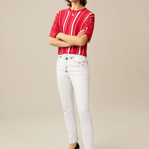 Straight-leg pants with contrast details : Trousers & Jeans color White