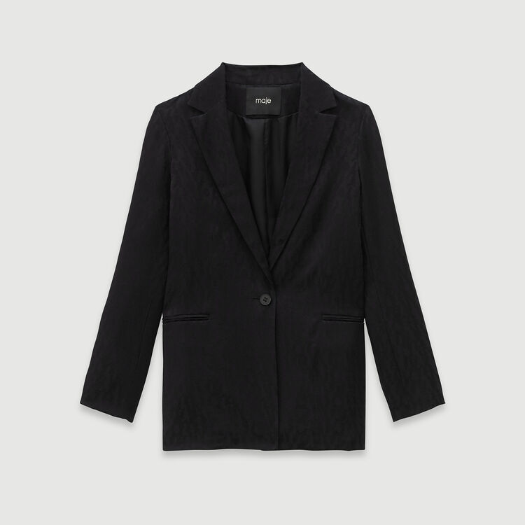 Loose-fit satin jacquard jacket : Blazers color Black