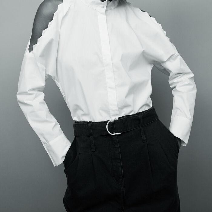 Bare shoulder cotton shirt : Tops color