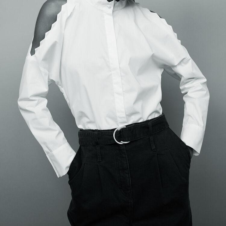 Bare shoulder cotton shirt - Tops - MAJE
