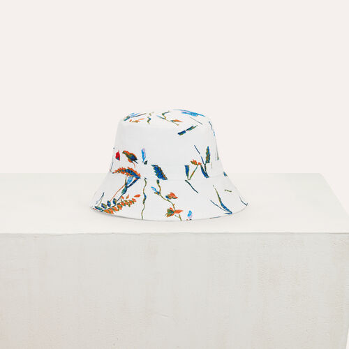 Fisherman's hat in floral printed cotton : Shawls & Ponchos color White