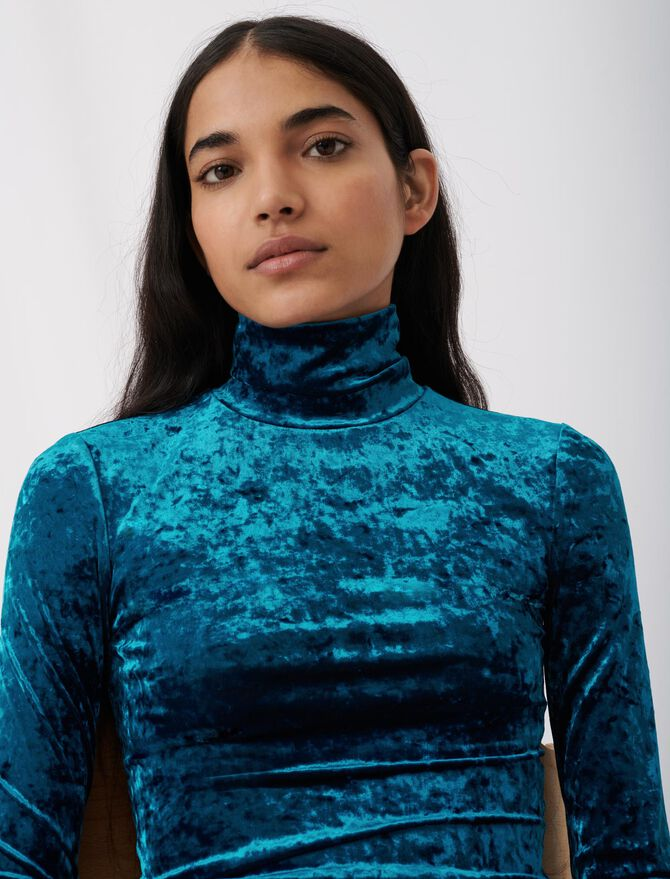 Lightweight crushed velvet polo-neck - This week - MAJE