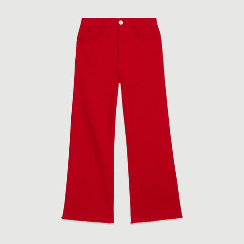 High-waisted wide leg jeans : Trousers & Jeans color Red