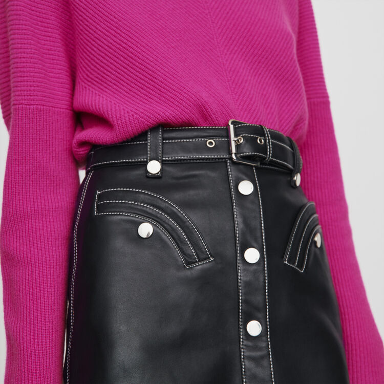 Leather belted A-line skirt : Winter collection color Black