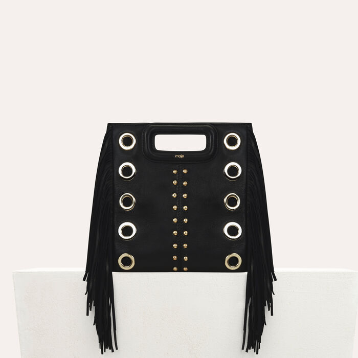 M bag in leather with studs and eyelets : New Collection color Black 210