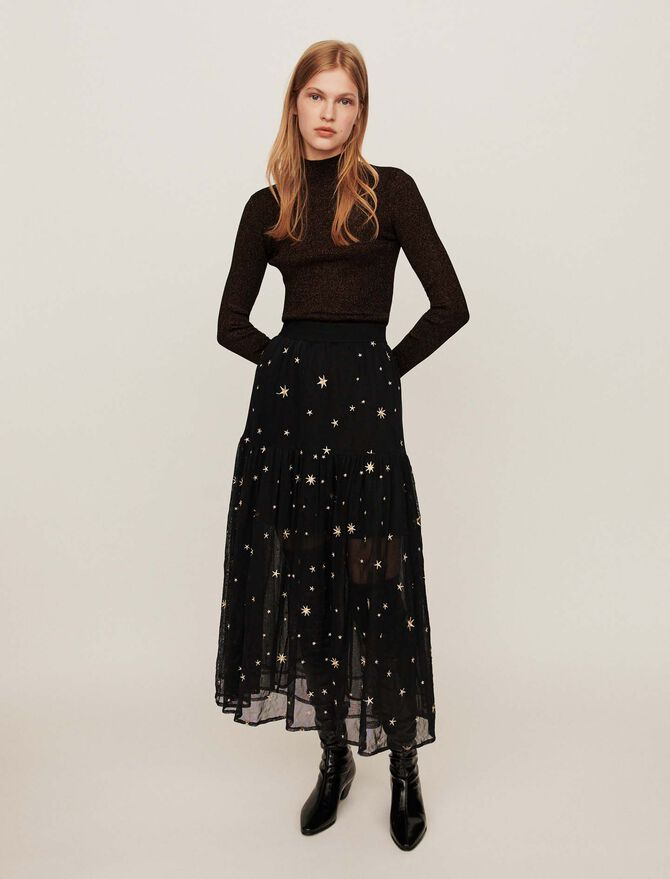 Star-embroidered tulle skirt - More discounts - MAJE