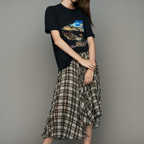 Oversize printed cotton T-shirt : T-Shirts color Black 210