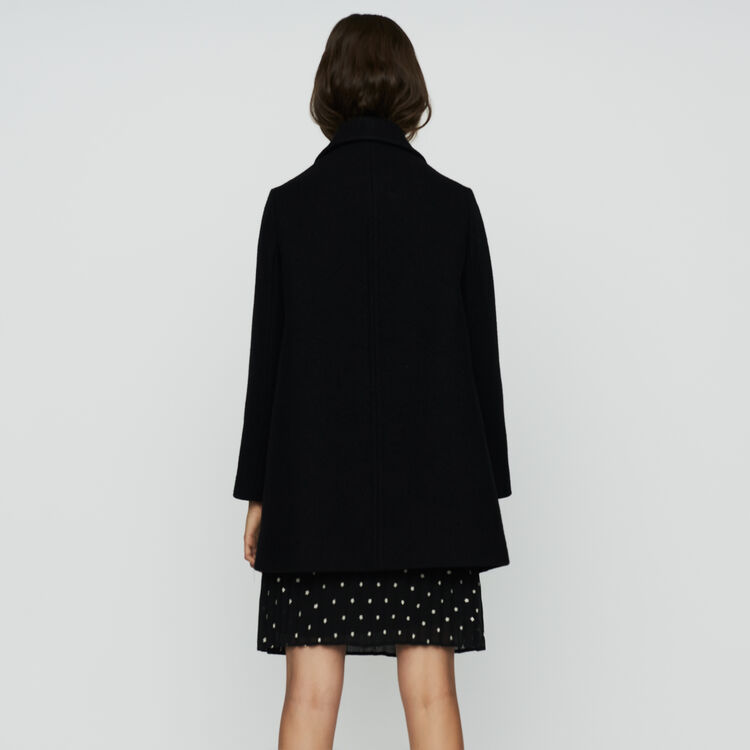 Wool trapeze coat : Ready to wear color Black 210