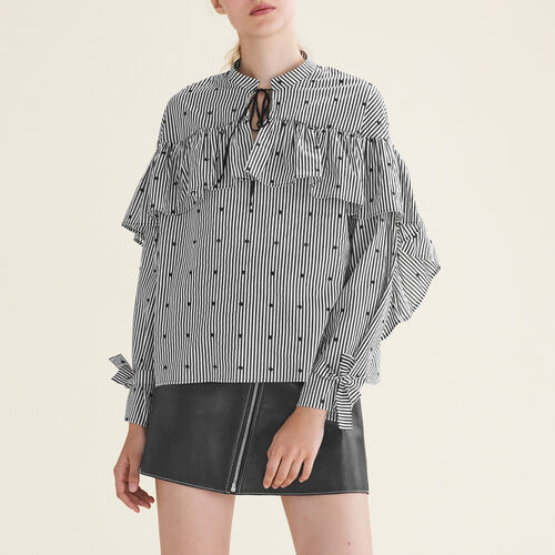 Striped blouse with frills : Tops color PRINTED