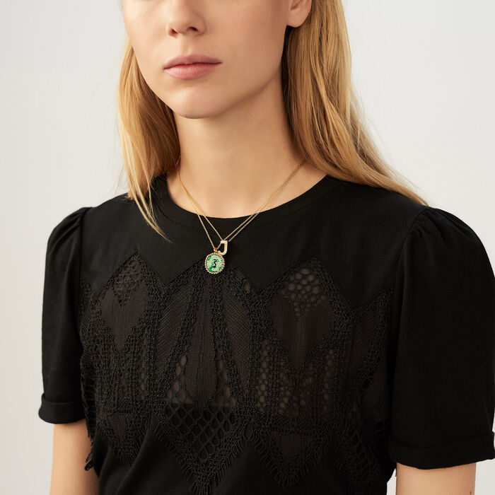 T-shirt with lace : T-Shirts color Black 210