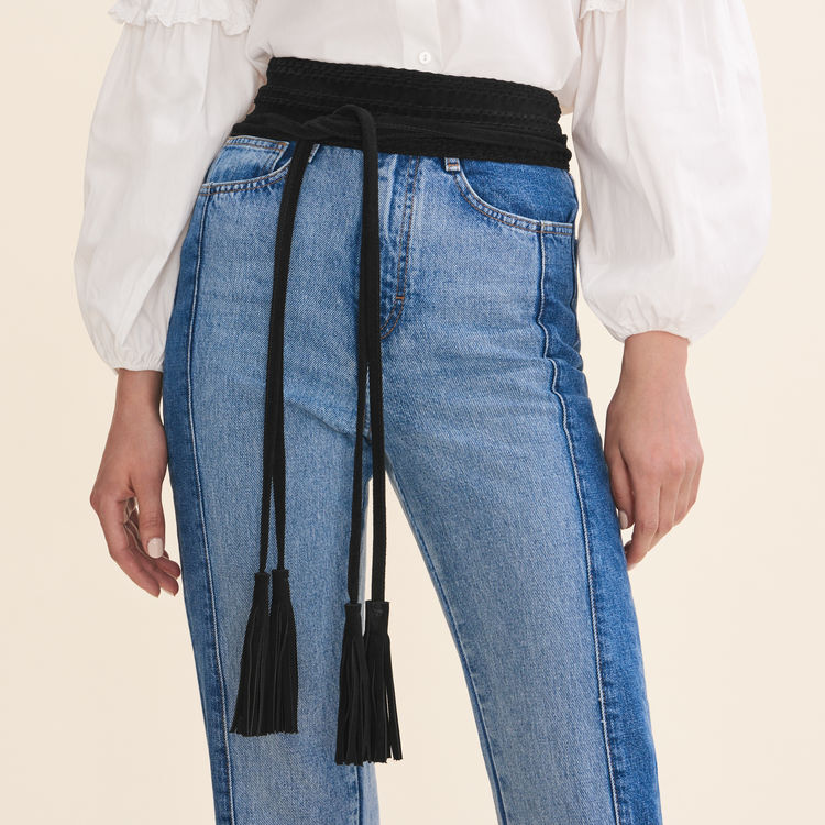 Large belt with suede fastening : Belts color Black 210