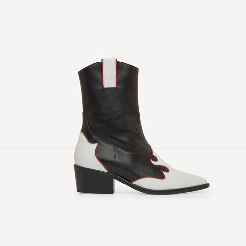Two-tone leather cowboy boots : Accessories color Two-Tone