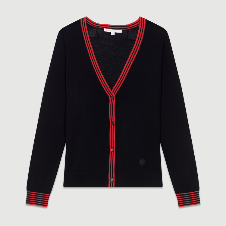 Fine knit merino wool cardigan : New Collection color Black 210