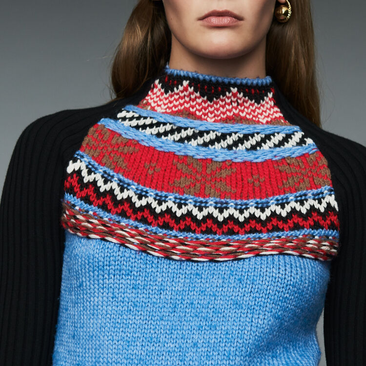Novelty jacquard knit sweater : This week color Multico