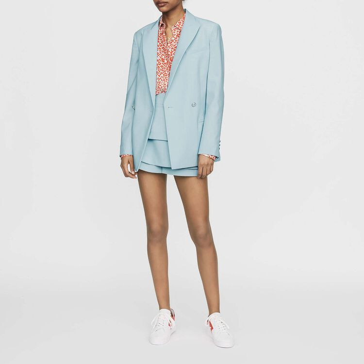 Long wool-blend blazer : Office girl color Blue Sky
