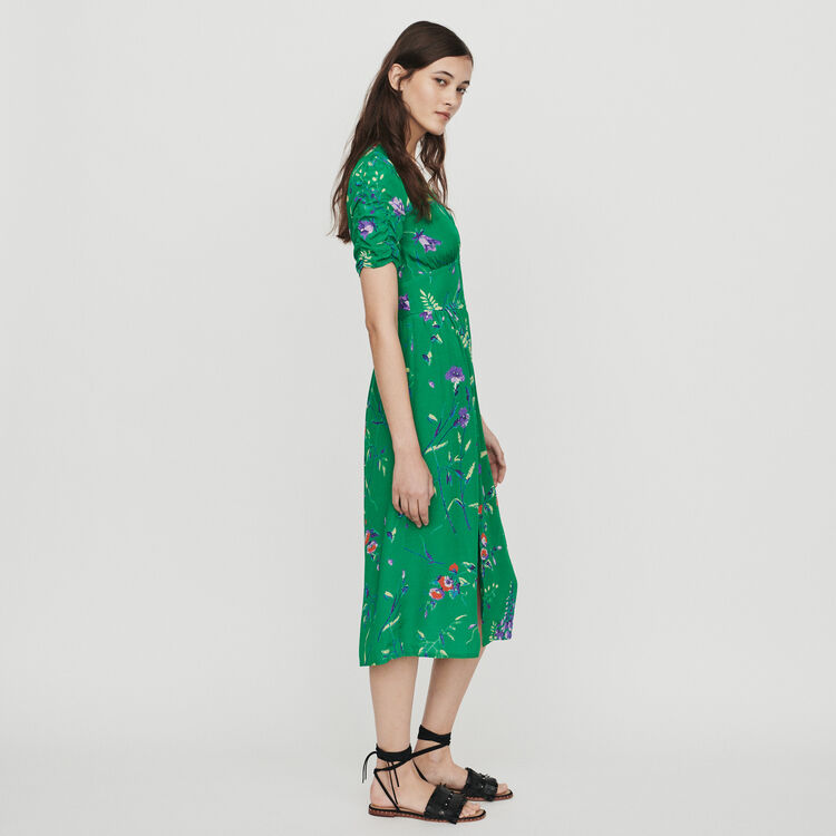 Midi printed dress in crepe : Dresses color Printed