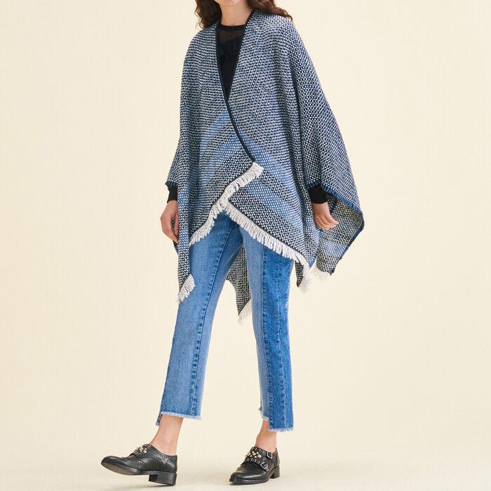 Decorative two-tone knit poncho -  - MAJE