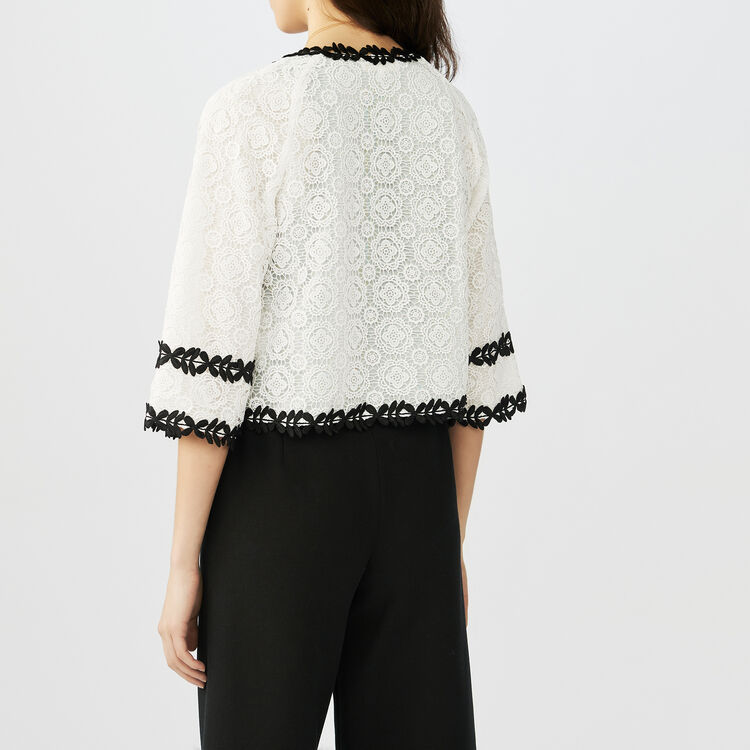 Guipure cardigan with patterned trim : Knitwear color ECRU