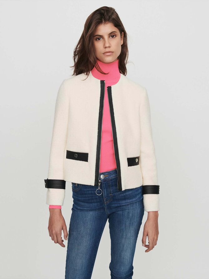 Zipped tweed-style contrast jacket - Jackets & Blazers - MAJE