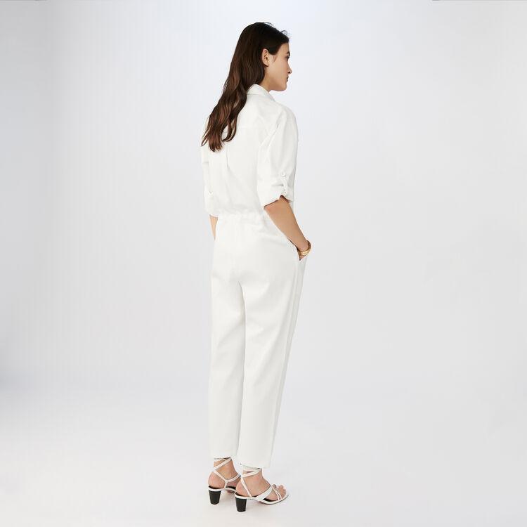 Cotton factory-style jumpsuit : Jumpsuits color ECRU