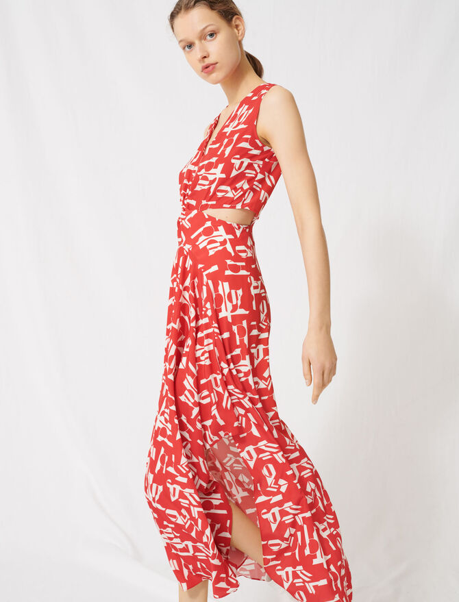 Red dress with cutouts - Dresses - MAJE