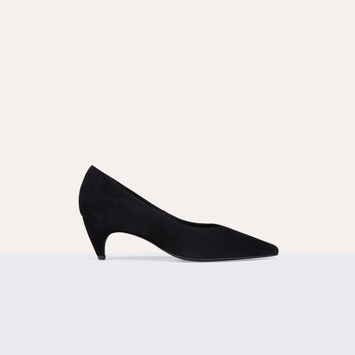 Suede leather court shoes with cut-out : Shoes color Black 210