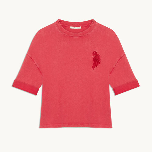 Embroidered cotton T-shirt - null - MAJE