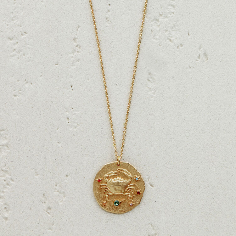 Cancer zodiac sign necklace : Medallions color GOLD