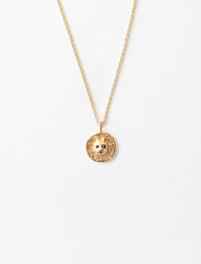 """Mon Chat"" gold-plated necklace - Sentimental medals - MAJE"