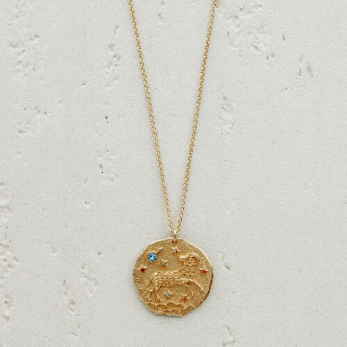 Aries zodiac sign necklace : See all color GOLD