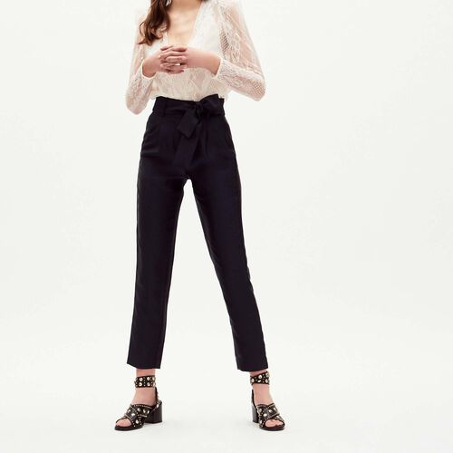 Pleated pants with belt : Majexclusive color Navy