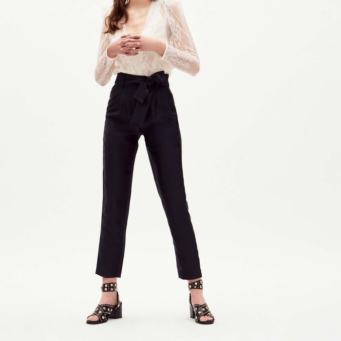 Pleated pants with belt : This week color Navy