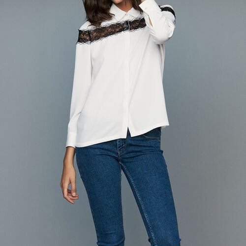 Blouse with lace : Shirts color Ecru