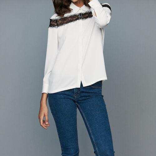 Blouse with lace : Shirts color Ecru