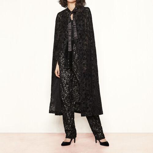 Flocked velvet cape : Coats & Jackets color Black 210