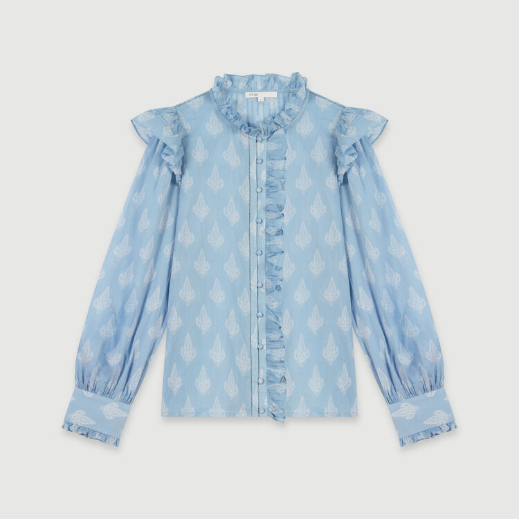 Printed-cotton voile ruffled top : Tops & Shirts color Blue